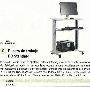 DURABLE PUESTO DE TRABAJO TROLLEY 80 VH BALDAS 92,5-122,5X80X56,4 CM 3718-10