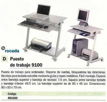 ROCADA PUESTO DE TRABAJO MOD. 9100 80X50X79 CM 80X50X79 CM BANDEJA PARA TECLADO RD 9100