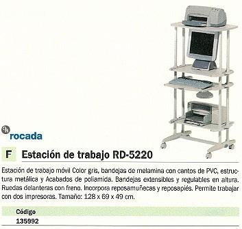 ROCADA PUESTO DE TRABAJO MELAMINA 128X69X49 GRIS RD 5220