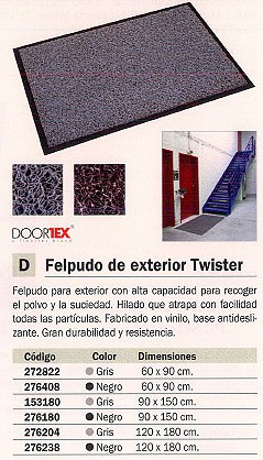 FLOORTEX FELPUDO TWISTER 120X180 NEGRO FC4120180TWIBK