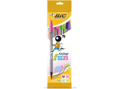 BIC BOLÍGRAFO CRISTAL LARGE FASHION COLORES SURTIDOS TRAZO 0.6 MM TINTA ACEITE BLÍSTER 4 UD 895792