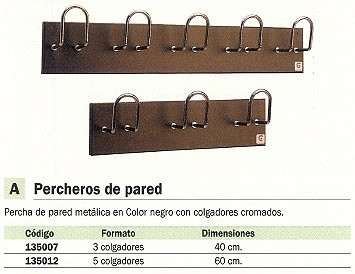 CILINDRO PERCHA PARED 3 COLGADORES H-13