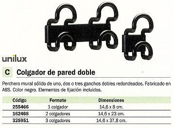 UNILUX PERCHERO PARED 3 COLGADORES NEGRO 100340674