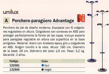 UNILUX PERCHERO PIE 6 COLGADORES GRIS-NEGRO 100340648