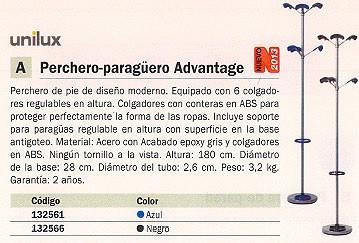 UNILUX PERCHERO PIE 6 COLGADORES GRIS/AZUL 100340644
