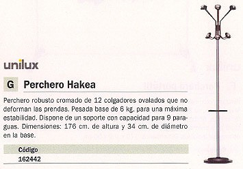 UNILUX PERCHERO HAKEA 12 COLGADORES 100340617