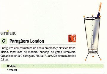 UNILUX PARAGÜERO LONDON ACERO - PLÁSTICO ALTURA 71CM 9 PARAGUAS 100340828
