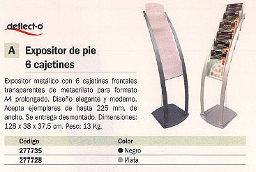 DEFLECTO EXPOSITOR DE PIE CONTEMPORARY 125X38,5X38,5MM 6 CAJETINES PLATA 693145