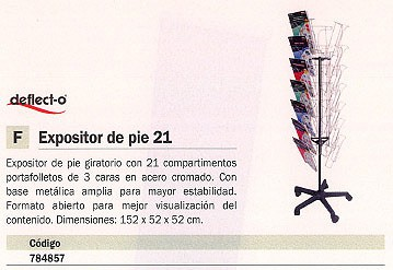 DEFLECTO EXPOSITOR DE PIE 140X35X43,8 21 COMPARTIMENTOS 2,4 KG 78845