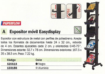 PAPERFLOW EXPOSITOR MOVIL EASYDISPLAY 167,5X35X38,5CM ALUMINIO 259N.35