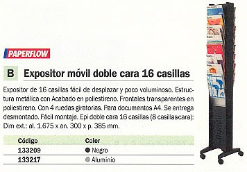 PAPERFLOW EXPOSTIR ESPIGA 167,5X30X38,5CM 16 CASILLAS MÓVIL DOBLE CARA 276N.01