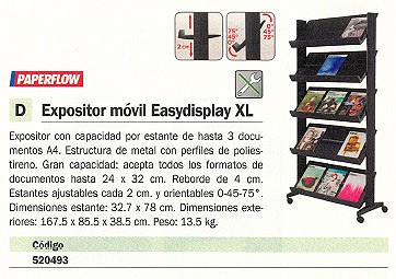 Expositores de pie PAPERFLOW EXPOSITOR MOVIL EASYDISPLAY XL 167,5X85,5X38,5 CM 255N.01