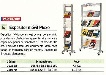 PAPERFLOW EXPOSITOR MOVIL PLEXO 168,5X38X38,2CM 4 ESTANTES 256TT.35