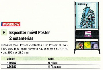 PAPERFLOW EXPOSITOR MOVIL 167,5X85,5X38,5 2 ESTANTERIAS NEGRO-GRIS SPP1.35