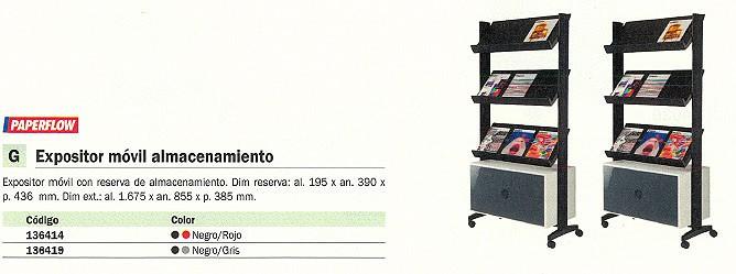 PAPERFLOW EXPOSITOR MOVIL 167,5X85,5X38,5 3 ESTANTERIAS NEGRO/GRIS UPP10.01