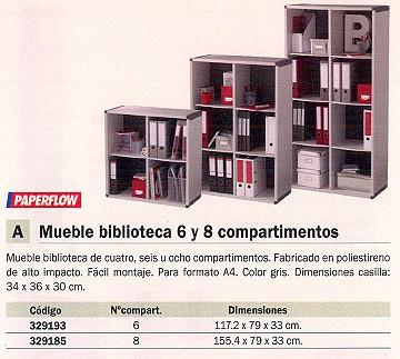 FAST MUEBLE BIBLIOTECA 6 COMPARTIMENTOS 117,2X79X33CM GRIS BM6K2.11