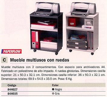 PAPERFLOW MUEBLE MULTIUSO 2 COMPARTIMENTOS 69,9X54,5X33,5CM A4 NEGRO DC02.01