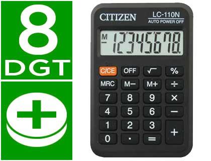 Calculadoras de bolsillo CITIZEN CALCULADORA CITIZEN BOLSILLO LC-110 8 DIGITOS NEGRA