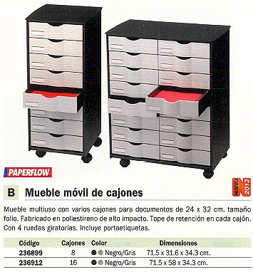 PAPERFLOW MUEBLES MULTIUSOS 16 CAJÓNES 547X407X614 NEGRO Y GRIS POLIESTIRENO RUEDAS DT161.02