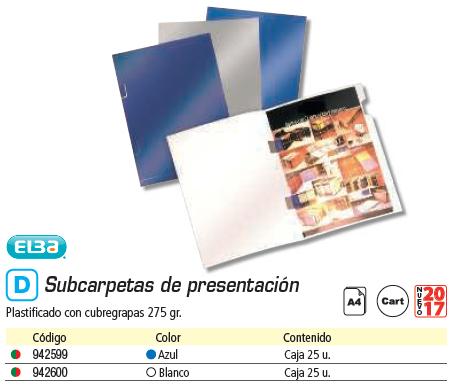 Clasificacion y archivo ELBA PAQUETE DE 25 SUBCARPETAS DE PRESENTACION AZUL 400042268