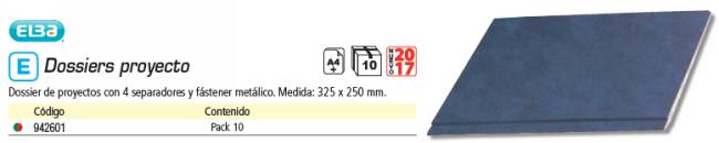 ELBA PACK 10 CARPETAS PROYECTOS CARTÓN C-4 SEPARADOR+FASTENER 32,5X25 AZUL 400018790