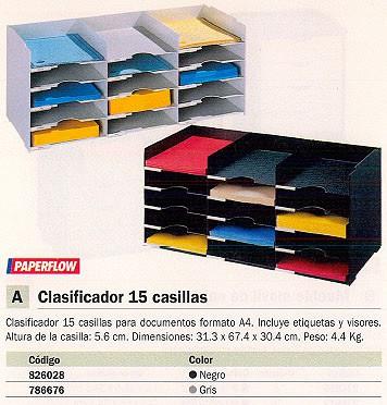 FAST CLASIFICADOR 15 CASILLAS INCLUYE ETIQUETAS Y VISORES 31,3X67,4X30,4CM GRIS 531.02