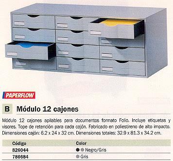 PAPERFLOW MODULOS DE CAJONES 12 CAJONES 813X342X329 GRIS POLIESTIRENO ETIQUETAS Y VISORES 9H4441.02