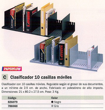 PAPERFLOW CLASIFICADOR 10 CASILLAS MOVILES REGULABLE 21X80,2X27,5CM NEGRO 4932.01