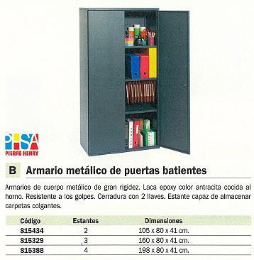 PIERRE HENRY ARMARIO METÁLICO CON CERRADURA PUERTAS BATIENTES 160X80X41CM 3 ESTANTES 925000