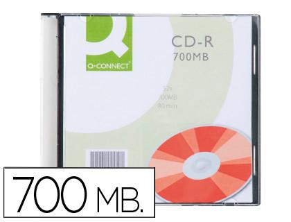 CDs ENVASE DE 10 UNIDADES CD-R Q-CONNECT CAPACIDAD 700MB DURACION 80MIN VELOCIDAD 52X CAJA SLIM