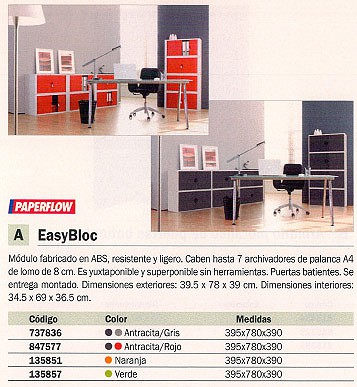 PAPERFLOW MÓDULO EASYBLOC PUERTAS BATIENTES 39,5X78X39 CM ANTRACITA/ROJO MB13PT.18