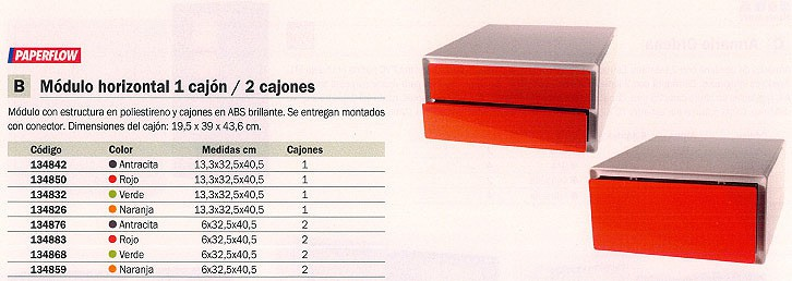 PAPERFLOW MODULO HORIZONTAL EASYBOX 1 CAJÓN 13,3X32,5X40,5 NARANJA EBGH.05