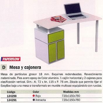 Mobiliario de clasificacion PAPERFLOW MESA CON CAJONERA REVESTIMIENTO MELAMINADO 72X115X76CM ROJO BUGHX3.18
