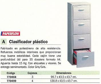 PAPERFLOW CLASIFICADORES 4 CAJONES CLASIFICADOR PLASTICO 130,8X43,5X43,7CM GRIS 6420.02