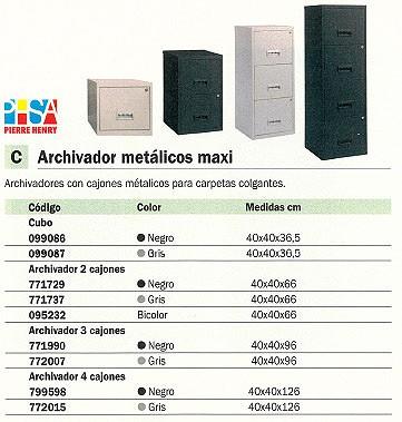 PIERRE HENRY ARCHIVADOR METÁLICO MAXI 3 CAJONES 40X40X96 CM A4 GRIS 095155