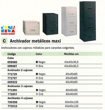 PIERRE HENRY ARCHIVADOR METÁLICO MAXI CUBO CON KIT ENLACE 40 X 40 X 36,5 MM. GRIS 099087