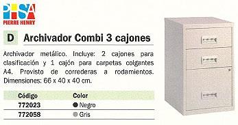 PIERRE HENRY ARCHIVADOR METÁLICO COMBI 3 CAJONES CERRADURA 66X40X40 NEGRO 095113