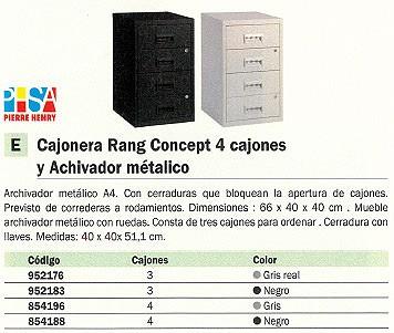 PIERRE HENRY CAJÓNERA RANG CONCEPT 4 CAJONES 60X40X40CM ARCHIVADOR METÁLICO 095114