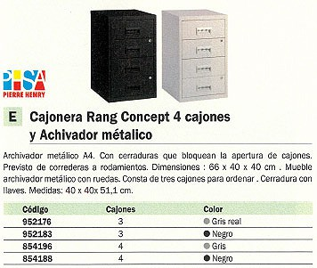 PIERRE HENRY CAJONERA RANG CONCEPT 4 CAJONES 60X40X40CM ARCHIVADOR METÁLICO 095114