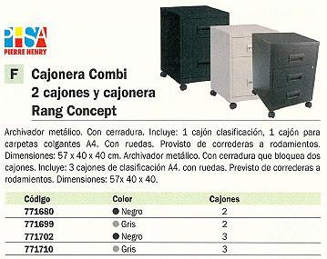PIERRE HENRY CAJONERA RANG CONCEPT 3 CAJONES 40X40X57CM GRIS 095221