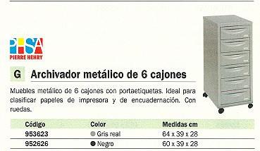 PIERRE HENRY MUEBLE METALICO 6 CAJONES 40X29X71CM GRIS 095362