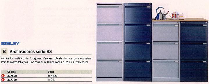 BISLEY ARCHIVADOR METÁLICO BS 4 CAJONES CERRADURA 132,1X47X62,2 A4, PORTAETIQUETAS GRIS 1643D AT4