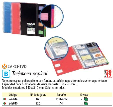 ENVASE DE 4 UNIDADES CARCHIVO TARJETERO ESPI.P.P.,FUND.EXTRA.REPOSI.,CAP.160 TARJ.100X70 MM,M.EXT.140X310 MM,C.STDS62011699