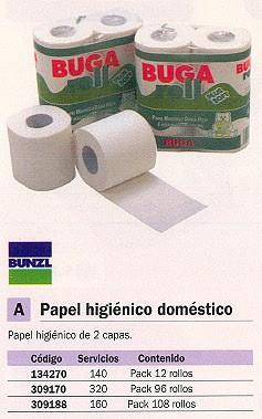 BUNZL PAPEL HIGIENICO PACK 108 ROLLOS 160 SERVICIOS 2 CAPAS 21571