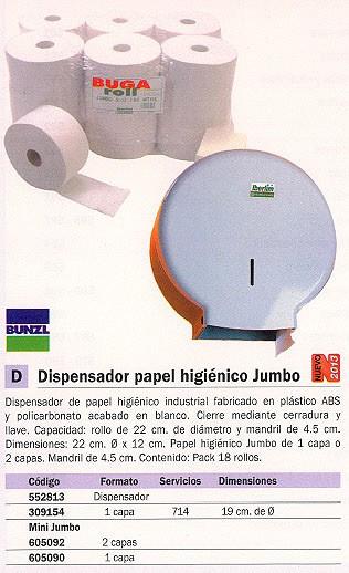BUNZL PAPEL HIGIENICO JUMBORACK 3 PACK 18 ROLLOS 714 SERVICIOS 1 CAPA 15266