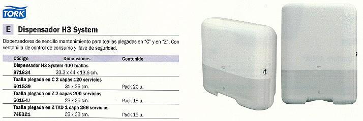 TORK DISPENSADOR TOALLAS H3 SYSTEM 333X440X136 400 TOALLAS 55300000