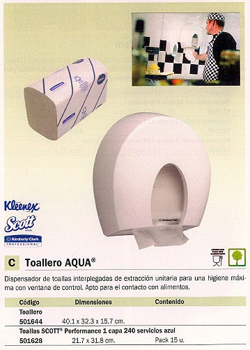 KIMBERLY CLARK DISPENSADOR TOALLAS AQUA 32X40X16CM 6973