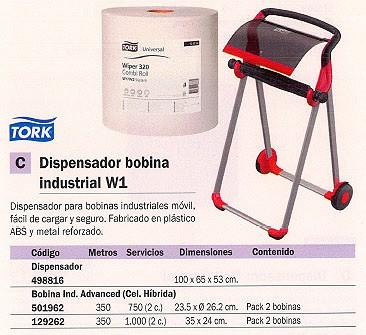 TORK BOBINA PAPEL INDUSTRIAL PACK 2 UD 350 M 1000 SERVICIOS 2 CAPAS PARA W1 129262
