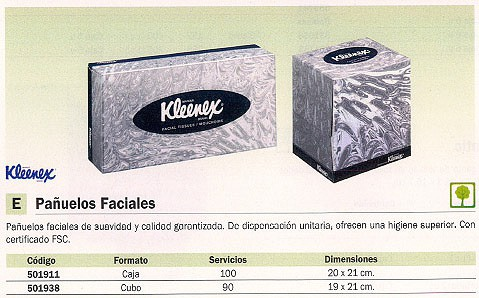 KIMBERLY CLARK PAÑUELOS FACIALES KLEENEX CUBO 90 SERVICIOS 8834