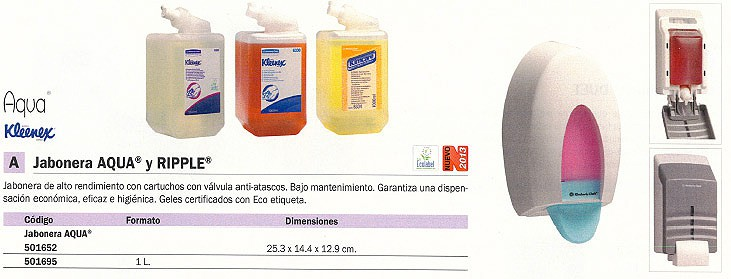 KIMBERLY-CLARK DISPENSADOR JABON AQUA 25,3X14,4X12,9 CM 6976000